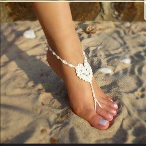 Vivid Rose Shop Accessories - WHITE Barefoot Sandals